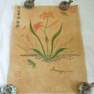 Antique Chinese Watercolor Painting Flowers Decor Lizard Frog Butterfly Signed
