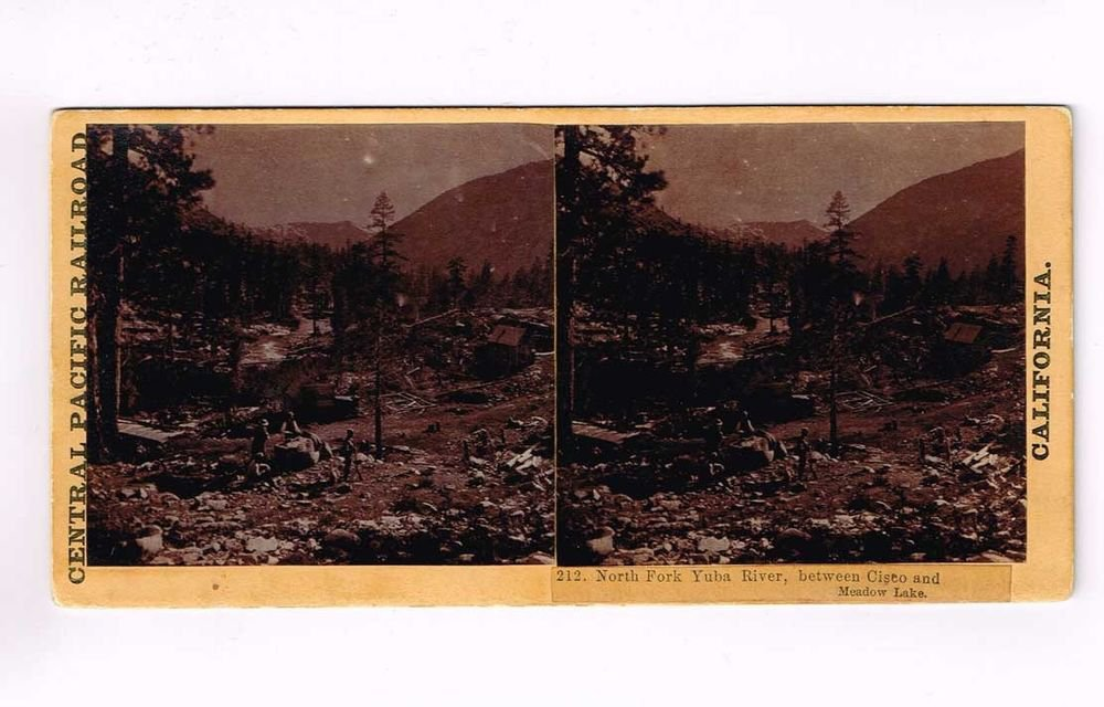 Stereoview Hart Sierra Nevada CPRR #212 North Fork Yuba River Cisco Meadow Lake