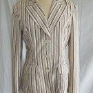 Nanette Lepore Jacket Trophy Blazer Stripe NOS Cotton Peak Lapel Couture 10