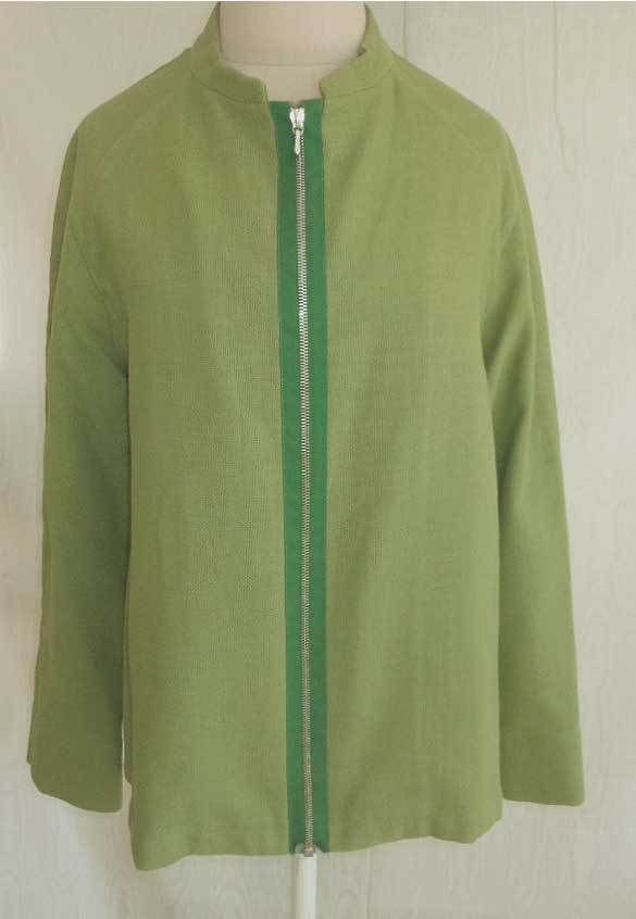 JIL SANDER Jacket Blazer Exposed Zipper Deadstock Nos Cotton Mao Collar Tunic 38