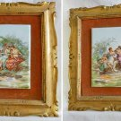 Antique Gilt Framed Pair Hand Painted Pottery Plaques Nude Erotic Goddess Cupid