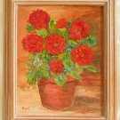 Painting Still Life Flowers Geraniums Holmberg Original Decor Framed Botanical