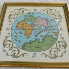 Antique Needlepoint Ancient Ptolemy World Map Chart Italian Gilt Tole Frame