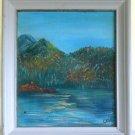 Western Painting Original Modernist Landscape Mountain Lake Autumn Cele Majeski
