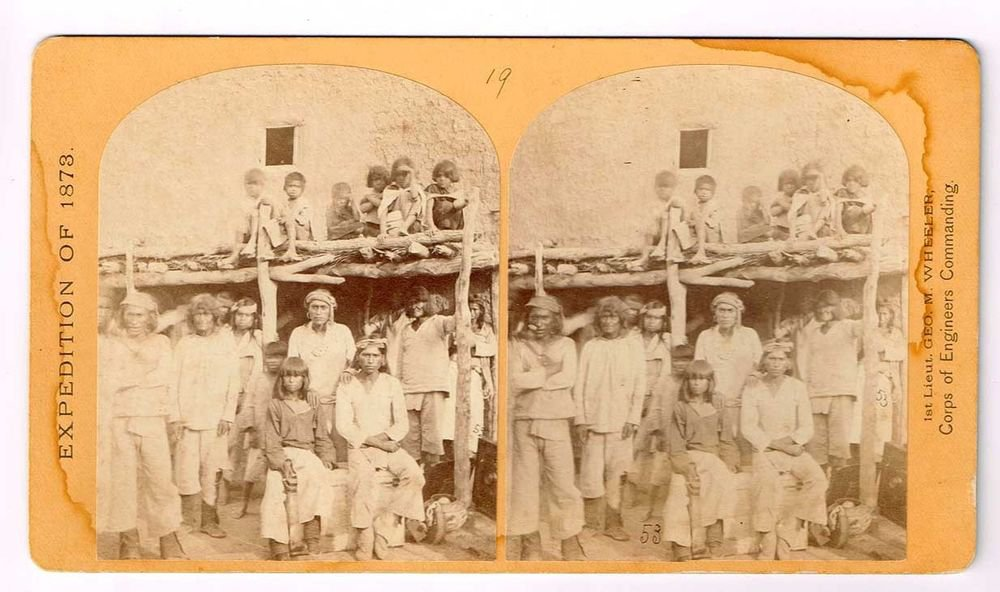 Stereoview Wheeler Expedition 1873 #19 O'Sullivan Zuni Indian Braves Pueblo NM