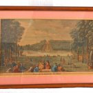 French Antique Print Etching Laurie Flower Gardens of Seaux Hand Colored France