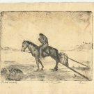 Marco ZIM Russia Russian Artist Etching 1930  Indian Roaming Nomad Travois