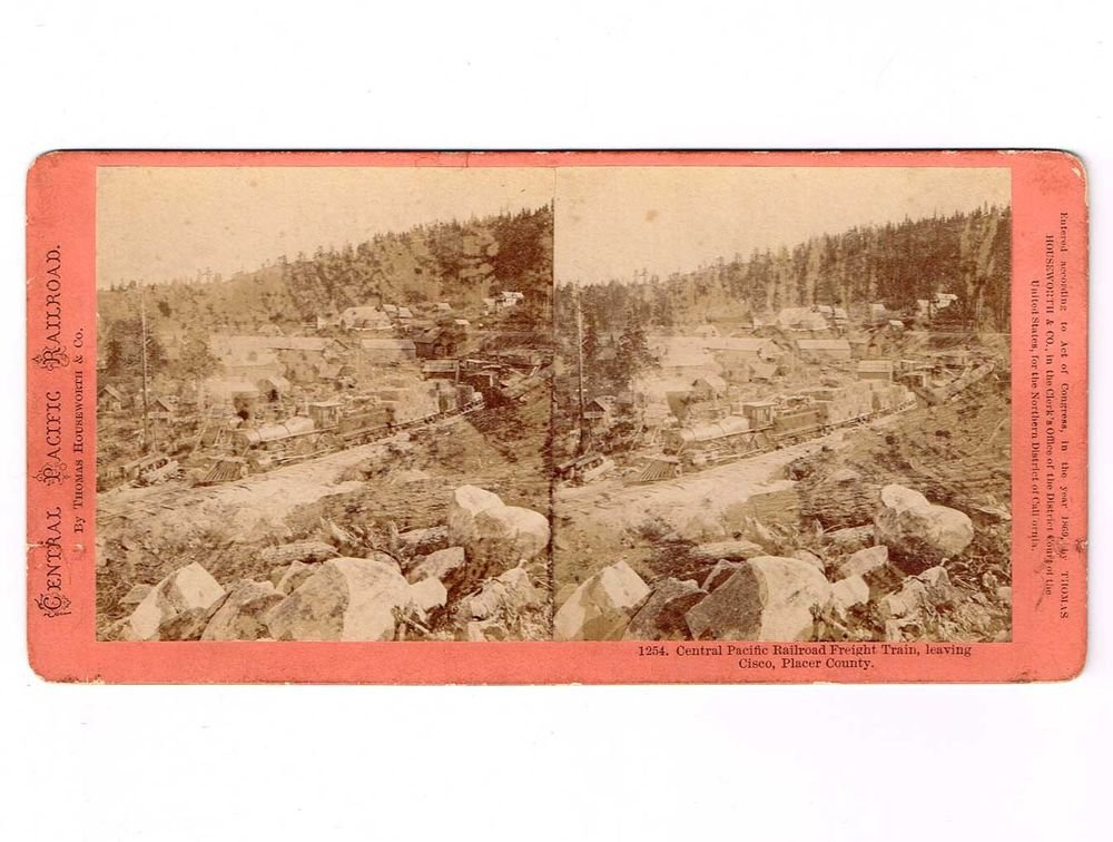 Stereoview CPRR Railroad Houseworth #1254 Train Locomotive Cisco Town Loco View