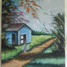 Original Oil Modernist Painting Landscape Southern Old Slave Quarters Miky Huge
