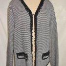 Exclusively Misook Nos Knit Blazer Jacket Sweater Cardigan Fringe Trophy Stripe