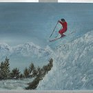 Vinatge Original Painting Alpine Snow Ski Jump Skiing Rocky Mountains J Wood