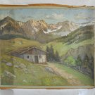 Antique Painting Watercolor SCHMEDINGEN Alpine Chalet Plein Air Landscape