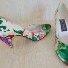 Stuart Weitzman Print Cone Heel Watercolor Silk Pumps Pointy Impressionist
