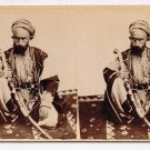 Stereoview Bruno Hentschel Jerusalem Arab Sultan Portrait Bedouin Saber Turban