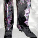 Boots Cowboy Western Cowgirl Alberto Molina Snakeskin Satin Metallic Purple  6.5