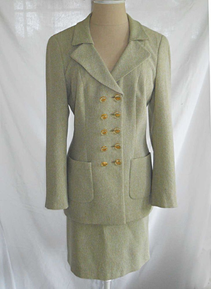 Rena Lange Skirt Suit Deadstock NOS Tweed Trophy Tunic Pale Celadon Green 38