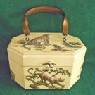 Vintage 50s Box Bag Leopard Cats Cub Jungle Handbag Purse 3D Artist Signed Welda