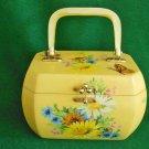 Vintage 50s Box Bag Handbag Purse Octagonal Daisies Wild Flowers Butterfly Daisy