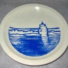 Syracuse China Marine Nautical Blue White Plate Sail Ship Square Rigger Vintage