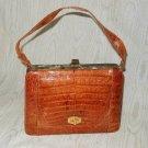Vintage 50s Genuine Alligator Structured Purse Top Handle Hand Bag Golden Brown