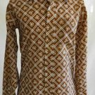 Vintage 70s NOS Deadstock Cellini Flower Geometric Disco Shirt Long Collar S