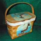 Vintage 50s Basket Bag Pelican Hand Painted Birds Jeannie Laurie Palm Beach Fla