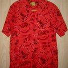 Vintage 60s Hawaiian Shirt Surfer Scene Mid Century Modern Moderne Red Rat Pack