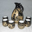 Latin South America Pisco Set Pottery Jug 6 Cups Hand Painted Scene Vintage