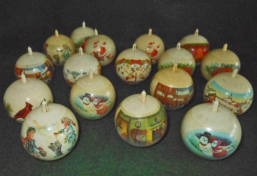Vintage 50s Mid Century Modern Santa Christmas Xmas Scenic Figural Balls Plastic