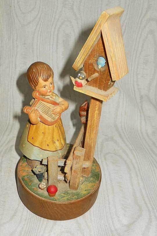 Vintage Reuge 60s Swiss Wood Carving Girl Music Box Born Free Bird Ornithology
