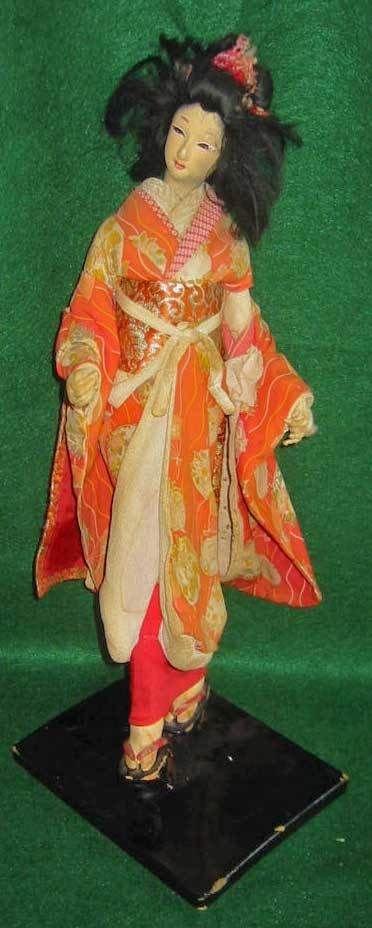 Japanese Geisha Red Large Costume Sakura Ningyo Doll Vintage 50s On Stand