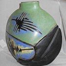 Vintage Incised Green Black Blue Vase Ramirez Mythical Figures Western Oblong