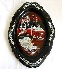 Vintage Japanese Tray Pearl Shiny Black Inlay Fisherman Boat Iridescent Fishing