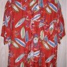 Silk Figural Hawaiian Shirt Surfboard Surfer Vintage Porcini M Deadstock NOS Red