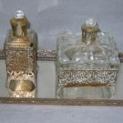 Vanity Set Antique Hollywood Regency 3 Piece Gilt Glass Tray Perfume Bottles