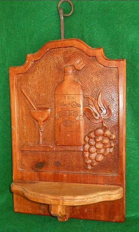 Shelf Vintage Antique Massive Revival Wood Carved Carving Flor de Cana Rum