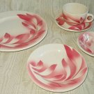 Vintage SYRACUSE AIRBRUSHED SOVEREIGN PINK 5 Piece Deco Setting Diner Restaurant