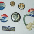 7 Antique Presidential Campaign Pins Roosevelt Hoover Willkie Mc Nary T R and N