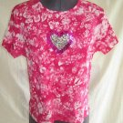 Valentine Heart Pink Olly London Tie Dye Silver Sequin T Shirt Top L NOS Grunge