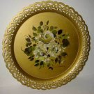 Vintage Antique Pierced Gold Tole Tray Flower Regency Hand Painted Signed