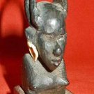 Amulet African Wood Carving Talisman Sculpture Nude Female Upswept Hair Vintage