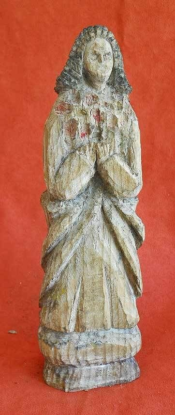 Wood Carving Santos Virgin Mary Antique Old Paint Folk Art Figure Sculpture
