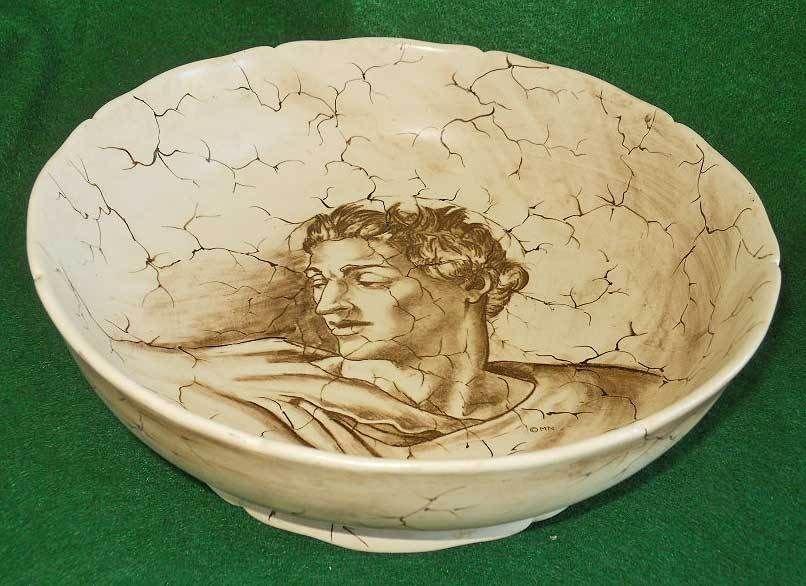 Pottery Mancioli Vintage Mid Century Modern Italian Ceramic Michaelangelo Bowl