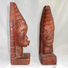 Vintage African Carving Book Ends Modernist Female Heads Tall Hair Dark Patina
