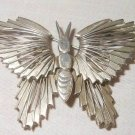 Vintage STERLING Moderne Pin Butterfly Moth Bug Mexico 925 Large Heavy Signed