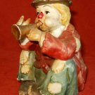 Vintage Pottery Ceramic Music Box Circus Performer Clown Playing Trumpet