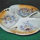 Antique Art Nouveau Pierced Peach Hand Painted Divided Dish Roses Flowers Decor