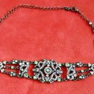 VCLM Necklace Choker Victorian Style Pale Green Stones Deadstock NOS