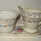 Antique James Kent Longton Tray Sugar Bowl Creamer Flowers Gilt Garland Flowers