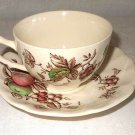 Johnson Brothers Harvest Time Scalloped Fruit Leaf Brown Cup and Saucer England